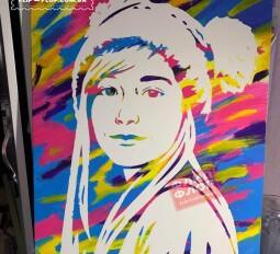портрет красками с пленкой